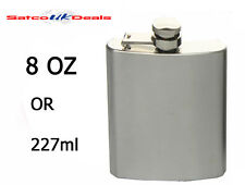 8oz Silver Hip Flask Stainless Steel Pocket Bottle Liquor Whiskey Vodka Holder