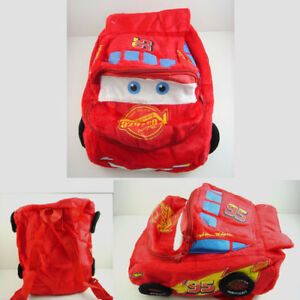 "CUTE Pixar Cars Lightning McQueen 14"" Soft Plush Kids Children 3D Backpack Bag"