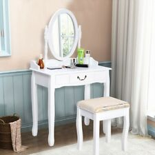 Makeup Dressing Table  Costway White Vanity Jewelry  Set bathroom W/Stool Drawer