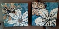 2 Pc Canvas Signed Painting Prints Flowers Summer Spring Bright Wall Decoration