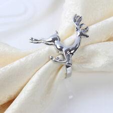 8pcs Durable Elk Deer Napkin Rings Christmas Silver Serviette Buckle Party Decor