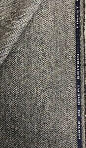 """Grey Herringbone """"Island Rock"""" 100% Wool Tweed Fabric. Sold By The Metre"""