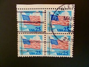 USA 1988 Scott #2278 Flag Issue Block of 4 Used - See Description & Images