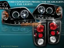 1997-2002 EXPEDITION BLACK PROJECTOR HEADLIGHTS HALO LED + BLACK TAIL LIGHTS