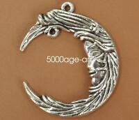 3//10//50pcs Antique Silver Beautiful Crescent Charms Connectors Craft DIY 38x37mm