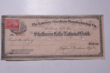 1898 Lamson Goodnow Check Shelburne Falls Bank 2c Stamp Ephemera C28-260