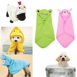 Puppy Cartoon Hooded Pajamas Dog Bathrobe Pet Bath Towel Cat Shower Blankets