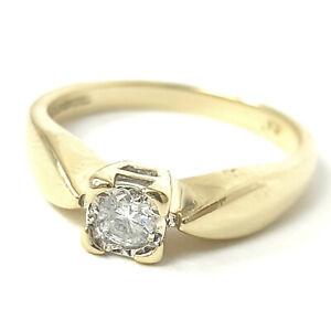 Ladies 9ct Gold Diamond Ring Solitaire 0.12ct Yellow Round Cut 1.9g