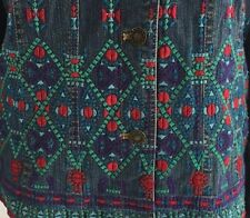 COLDWATER CREEK Denim Jean Lined Jacket Size Large Southwestern Embroidered EUC