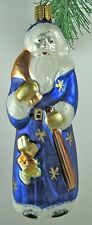 "Glass 516 Ornament 6""Blue Santa Father Christmas Whitehurst Imports Czech Rep."