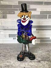 Vintage Murano Art Class Clown Figurine Gold Flecks Blue and Green Italy