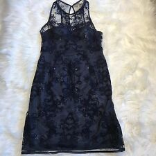 Adrianna Papell Lace Dress Blue Navy Sleeveless Size 8 Cocktail Sheath Woman
