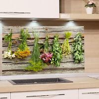 Küchenrückwand Glas Herd Holzoptik Kräuter Spritzschutz Küche Spüle Glasbild