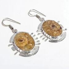 Ammonite Gemstone Handmade 925 Sterling Silver Jewelry Earrings 1.6 6309