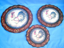 """Set Of 3 Country Kitchen Rooster Hanging Wall Plaques Plates 3 Sizes 9.5"""" - 14"""""""