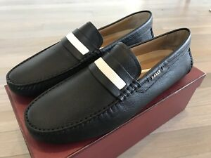 550$ Bally Black Dracon Leather Driver Size US 12 Made in Italy
