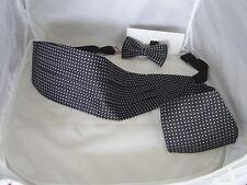 (020) Black with Silver Polka Dots-Silk Mens Bow Tie + Cummerbund and Hankie Set