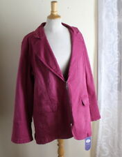 NWT Diane Gilman -Sz 2X Rich Rose Pink Denim Twill Blazer Jacket Art-Wear