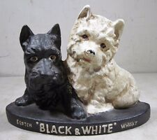 Vintage Original Buchanan's Black & White Scotch Whisky Cast Iron Dogs Display