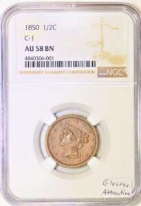 1850 Half Cent NGC AU-58 BN; C-1; Glossy, Attractive