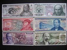 Mexico 5 + 10 + 20 + 50 + 100 + 500 pesos 1972-1984 UNC