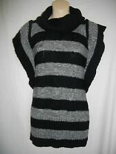 Route 66 Gray Black Large L 10/12 Cowl Neck Pullover Short Sleeve Long Sweater
