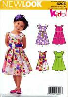 NEW LOOK SEWING PATTERN 6205 GIRLS 3-8 DRESS W/ PLEATED SKIRT & SLEEVE OPTIONS