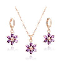 18k Yellow Gold Plated CZ Crystal Necklace+Dangle Earrings Flower Jewelry Set