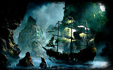 Framed Print - Weather Battered Pirate Ship in a Cave (Picture Poster Sailing)