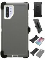 Gray White For Samsung Galaxy Note 10+Plus Defender Case w/ Clip fits Otterbox