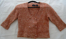 Kersh Canada Double Breasted Jacket Cardigan Sweater Rust Tweed Scoop Short M