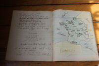 1923 Manuscript french school book math geography poems Victor Hugo