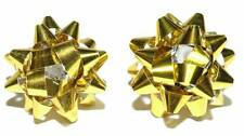 BRIGHT GOLD CHRISTMAS BOW STUD EARRINGS (H158)