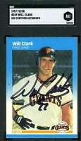Will Clark Sgc Coa Autograph 1987 Fleer Rookie Authentic Hand Signed