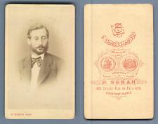 Sebah, Constantinople, Portrait homme Vintage albumen print. Pascal Sébah, né en
