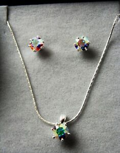 NEW 925 SILVER BRILLIANT ROUND CUT AUSTRIAN CRYSTAL NECKLACE & EARRINGS SET