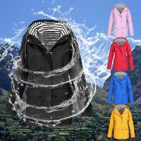 Womens Long Sleeve Hooded Wind Jacket Ladies Outdoor Waterproof Rain Coat