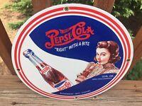 "Vintage Pepsi Cola Heavy Porcelain Sign 12"" Soda Cola Pepsi Sign"