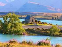 LANDSCAPE LAKE TEKAPO CHURCH NEW ZEALAND POSTER ART PRINT 30X40 CM BB3080B