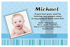 10 Personalised Boys 1st first Birthday Party Thank you PHOTO Cards