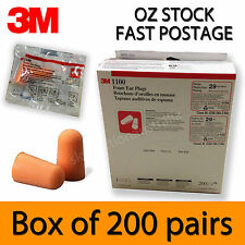 200 PAIRS -   3M 1100 Disposable Foam Safety Protection Snoring EarPlug - Uncord