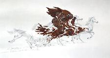 """*Bev Doolittle """"EAGLES FLIGHT""""-WSS Print-Camoflauge-Horse-Indian Native-Eagle*"""
