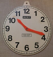 1960s VINTAGE MERIT/J and L. RANDALL TEACHING/LEARNING TIME TOY CLOCK~SCHOOL AID