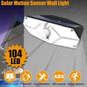 Waterproof 104 LED Solar Sensor Wall Light Garden Security Outdoor Flood Lamp
