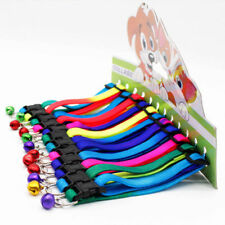 Fashion Colorful Pets Dog Puppy Cat Collars with Bell Nylon Necklace Adjustable