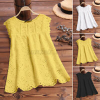 Women Linen Cotton Summer Tank Tops Eyelets V Neck Blouse Cami Camisole Vest Tee