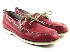 8e7149a4dfbc25 Tommy Hilfiger Tmally Red Leather Boat Deck Top Siders Shoes Men s Size 10.5