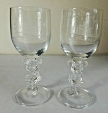 VINTAGE RARE PAIR OF DISNEY MICKEY & MINNIE MOUSE 3D WINE GLASSES