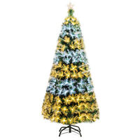 7Ft Pre-Lit Fiber Optic Christmas Tree 8 Flash Modes PVC w/ Double-Color Lights