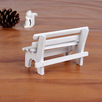 Mini Wood Vintage White Park Chair Wooden Furniture Dolls House Accessories S